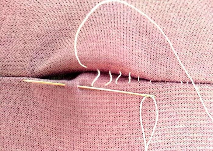 Потайной шов вручную. Фото, схемы для подгибки края брюк, заплатки, куртки, игрушек